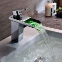 LED Waterfall Bathroom Sink Faucet LED Basin Mixer Tap with Color Changing Light No Batter Needed