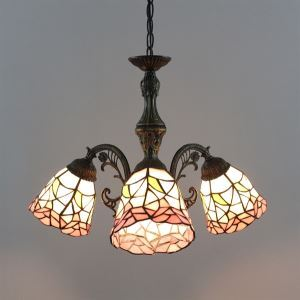 60W Classic Tiffany Style Chandelier with 3 Lights