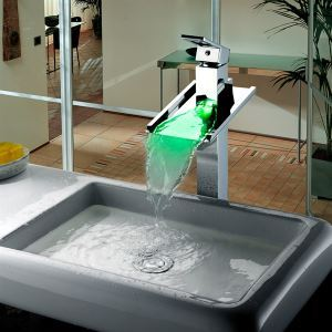 LED Waterfall Basin Tap Bathroom Light Up Faucet