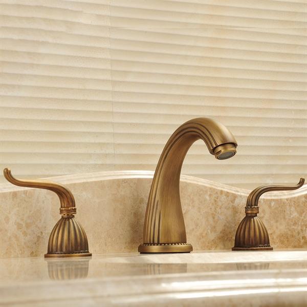 Antique Brass Bathroom Sink Faucet Double Handles