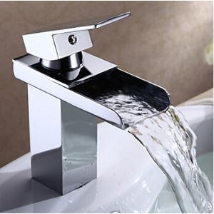Bathroom Sink Faucet in Modern Single Handle Waterfall Brass Tap (Chrome Finish)