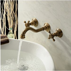 Old Fashion Bathroom Sink Faucet Antique Vessel Tap (Polished Brass Finish)