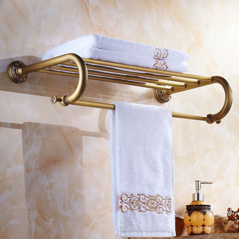 European Vintage Bathroom Accessories Antique Brass Towel