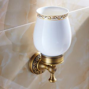 European Vintage Bathroom Accessories Antique Brass Single Toothbrush Holder