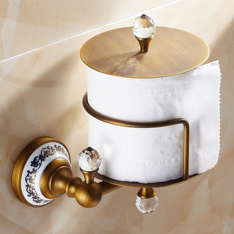 Crystal Toilet Roll Holder European Vintage Bathroom
