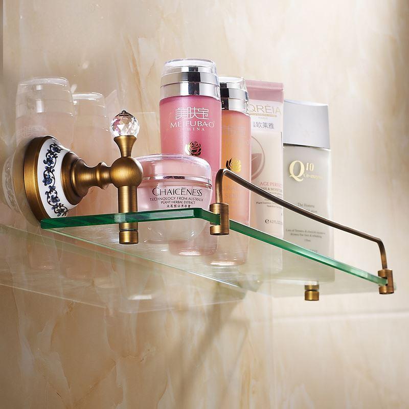 European Vintage Bathroom Accessories Antique Brass Glass