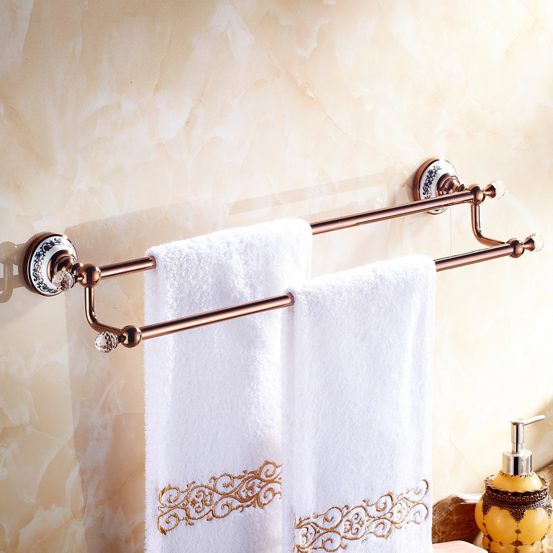 European Country Bathroom Accessories Rosy Gold Towel Rack