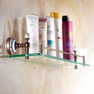 European Country Bathroom Accessories Rosy Gold Brass Bath Shelf Glass Shelf