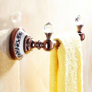 European Country Bathroom Accessories Rosy Gold Towel Rack Brass Towel Bar
