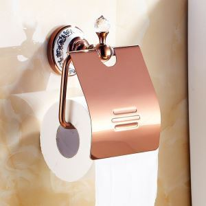 European Country Bathroom Accessories Rosy Gold Toilet Roll Holder Brass Paper Holder