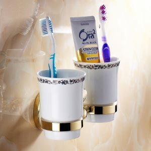 Modern Bathroom Accessories Ti-PVD Brass Toothbrush Holder
