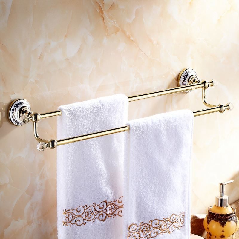 Modern Bathroom Accessories Ti Pvd Towel Rack Brass Towel Bar