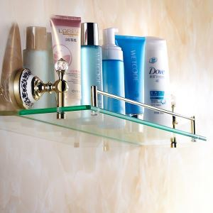 Modern Bathroom Accessories Ti-PVD Brass Bath Shelf Glass Shelf