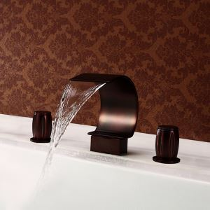 Oil-rubbed Bronze Bathtub Tap Deck Mount Double Handles Waterfall Tub Faucet