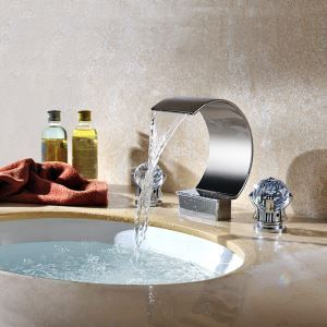 Contemporary Chrome Finish Double Crystal Handles Three Installation Holes Sink Tap Waterfall Bathroom Sink Faucet