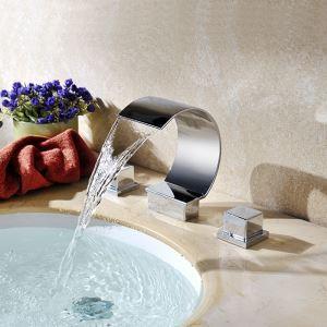 Contemporary Chrome Finish Double Handles Three Installation Holes Bathtub Tap Waterfall Bathtub Faucet
