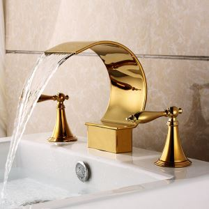 Contemporary Ti-PVD Double Handles Three Installation Holes Sink Tap Waterfall Bathroom Sink Faucet