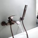 Wall Mount Waterfall Tub Faucet with  Hand Shower Oil-rubbed Bronze