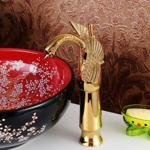 Modern Sink Tap Single Handle Swan Featured Ti-PVD Bathroom Sink Faucet