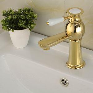 Modern Sink Tap Single Installation Hole Single Handle Ti-PVD Bathroom Sink Faucet