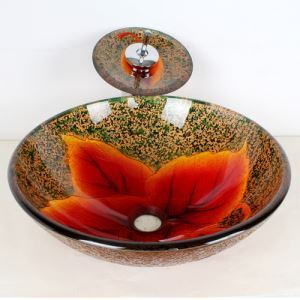 Modern Round Floral Pattern Tempered Glass Sink and Faucet sets with Waterfall Faucet Water Drain Mounting Ring
