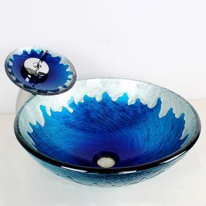 Modern Round Blue Fire Feature Tempered Glass Sink and Faucet sets with Waterfall Faucet Water Drain Mounting Ring
