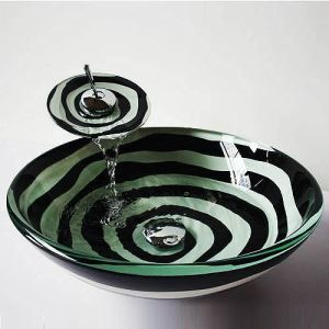 Modern Round Black and White Tempered Glass Sink and Faucet sets with Waterfall Faucet Water Drain Mounting Ring