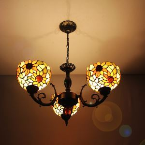 8 inch European Country Vintage Sunflower Pattern Glass Shade Indoor Tiffany Chandelier Bedroom Pendant Ceiling Light