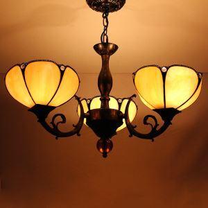 Rural Petal Pendant Light European Country Vintage Glass Shade Indoor Tiffany Chandelier Bedroom Pendant Ceiling Light