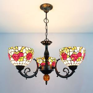 Flower Upward Pendant Light European Country Vintage Glass Shade Indoor Tiffany Chandelier Bedroom Pendant Ceiling Light
