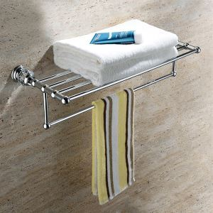 New Modern Chrome-colored Doulbe-layer Towel Rack Copper & Natural Crystal Towel Rail Towel Bar