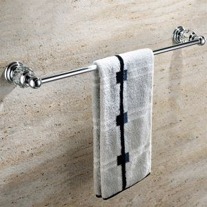 New Modern Chrome-colored Single Layer Towel Rail Copper & Natural Crystal Towel Bar Towel Rack