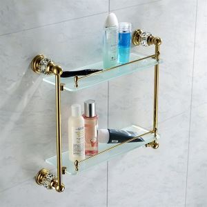 Contemporary Golden Glass Shelf Double-layer Copper & Natural Crystal Bath Shelf