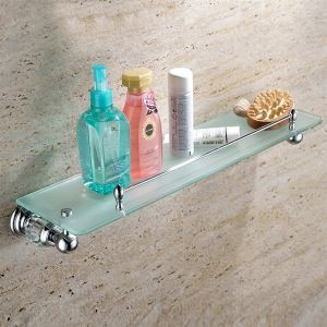 New Modern Chrome-colored Glass Shelf Single-layer Copper & Natural Crystal Bath Shelf