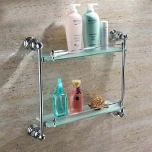 New Modern Chrome-colored Glass Shelf Double-layer Copper & Natural Crystal Bath Shelf