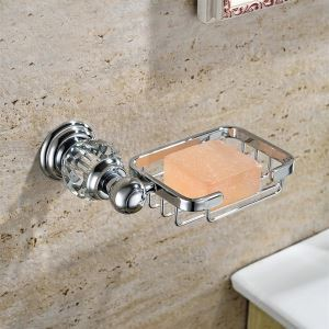 New Modern Chrome-colored Wall Mounted Rectangle Copper & Natural Crystal Soap Holder