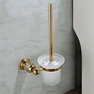 Contemporary Wall Mounted Golden Copper & Natural Crystal Toilet Brush Holder