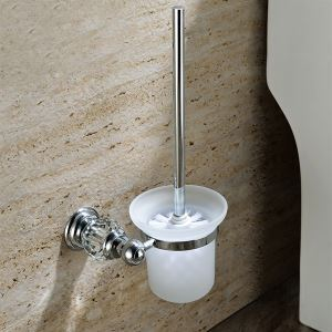 New Modern Wall Mounted Chrome-colored Copper & Natural Crystal Toilet Brush Holder