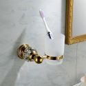 Contemporary Wall Mounted Golden Toothbrush Cup Copper & Natural Crystal Toothbrush Holder