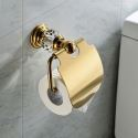Contemporary Wall Mounted Toilet Paper Holder Golden Copper & Natural Crystal Toilet Roll Holder