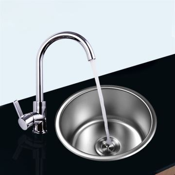 16 Inch Topmount Sink Stainless Steel Kitchen Single Round Bowl Faucet Not Included