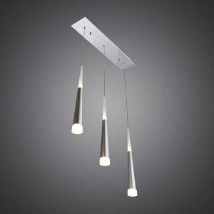 3 Lights Modern Simple Fashion LED Square Acrylic Pendant Light Silver Energy Saving