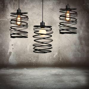 American Country Pendant Light Stoving Varnishing Craftsmanship Wrought Iron Pendant Light 1 Light Matted Black Chandelier