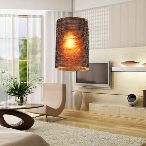 American Country Style Corrugated Paper Indoor Pendant Light 4 Designs 1 Light