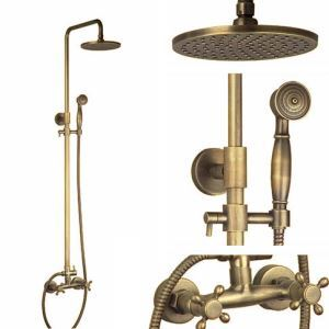 Antique Rain Shower and Handheld Shower Set Brass Shower Faucet Fixture