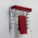 65W Modern Simple Style Towel Warmer Silver Wall Mounted Stainless Steel Towel Warmer with Non-electric Heating Shelf