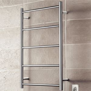 40W Modern Simple Style Towel Warmer Silver Wall Mounted Stainless Steel Towel Warmer