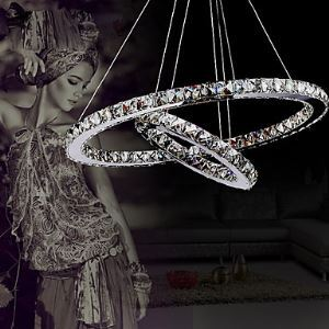 Pendant Light Luxury Modern LED Crystal Living Two Rings Energy Saving