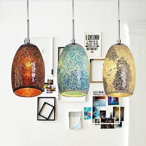 Colored Glass Pendant Light Decoration Pendant Light 1 Light Tiffany Resin Glass Painting Processing