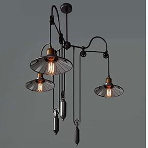 Vintage Pully Pendant Lights 3 Light Island Light Foyer pendants Dinning Pendants Study Room Metal+ Galss Inside Shade